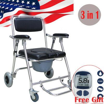 Transport Bedside Commode Folding Wheelchair Shower Toilet Aluminum RollingChair