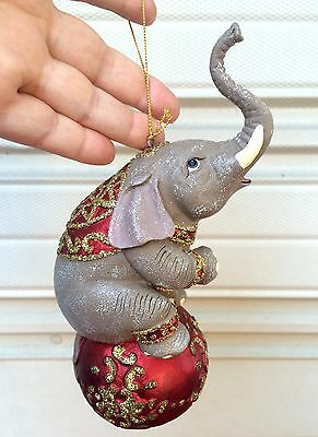 Ceramic Glass Circus Elephant Christmas Tree Ornament Red Ball Gold Glitter 8""