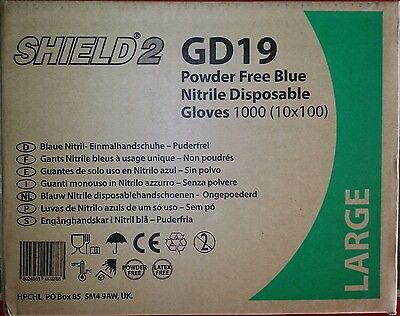 Nitrile Powder Free gloves size Large 5 cases of (10 x 100 = 1000 gloves)