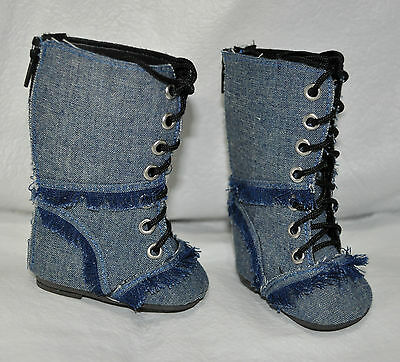 "Our Generation American Girl Journey Girl 18"" Dolls Shoes Denim Blue Boots"