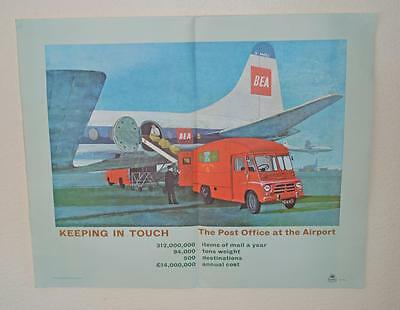Old ' GPO ' Post Office Poster 'The Airport'  BEA Aeroplane - Austin Morris Van