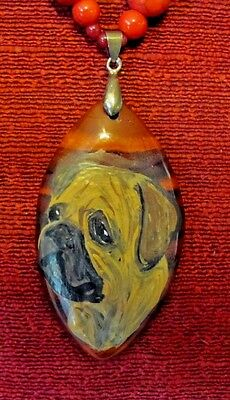 "Bullmastiff hand painted on 2 1/4"", marquis cut  red striped Onyx Agate pendant/"