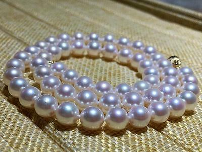 """18"""" Gorgeous AAA+ 7.5mm natural Japanese Akoya white round pearl necklace 14k"""