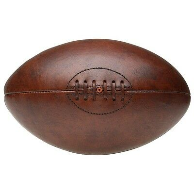 brand new vintage style brown leather rugby ball retro SIZE 5