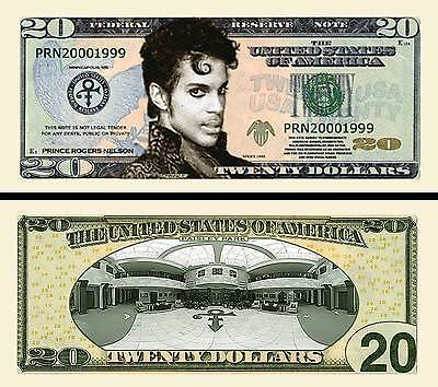 In Memory Of Prince 20 Dollar Novelty Bank Note Brand New