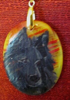 Belgian Sheepdog hand painted on oval Onyx Agate pendant/bead/necklace