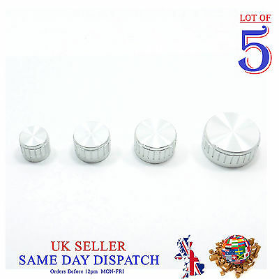 5x Push on Knob for Potentiometer Plastic Cap Silver Different Size