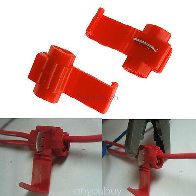50p/Set Red INSULATED QUICK SPLICE LOCK WIRE TERMINALS CONNECTORS GADGETS TOOL