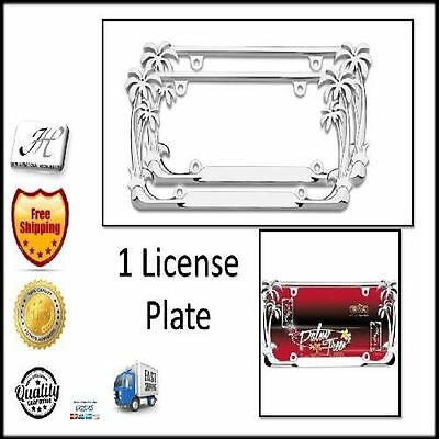 CHROME PALM Tree Frame Car Truck Vehicle Auto Holder Plate License ...