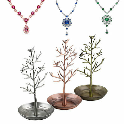 Retro Bird Tree Jewelry Earrings Ring Stand Holder Show Rack Necklace Display DS