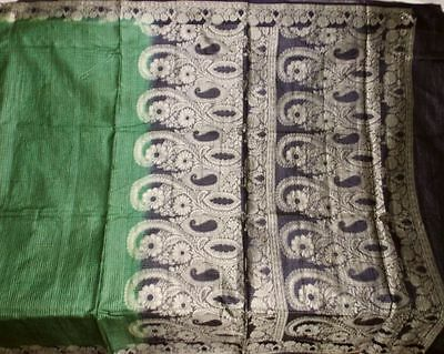 Free Shipping Vintage 100% Pure Real Silk Fabric Material Sari Saree #11212