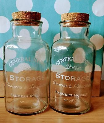 2 x Lovely vintage/rustic glass jar for display with a cork lid