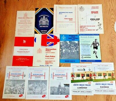 Police Rugby Union Programmes 1961 - 1997