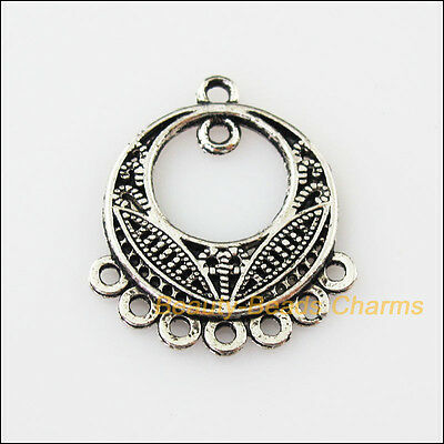 6 New Round Flower 1-1-7 Connectors Tibetan Silver Tone Charms Pendant 22.5x26mm