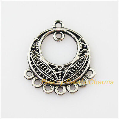 8 New Round Flower 1-1-7 Connectors Tibetan Silver Tone Charms Pendant 22.5x26mm
