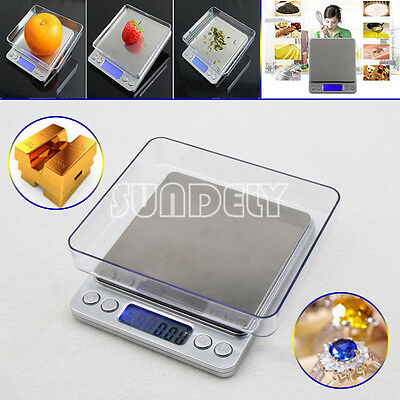 Mini 0.01G-500G Electronic LCD Digital Gold Jewellery Weighing Kitchen Scales AU