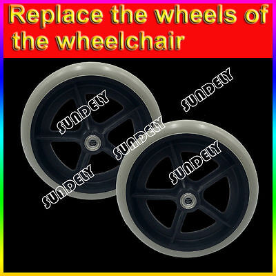 "Brand new 8""(inch) Rubber Small Non Marking Wheelchair Wheel Replacement Grey"