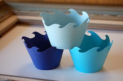 NAUTICAL OCEAN WAVE birthday party Cupcake Wrappers Holders UNDER THE SEA Prop