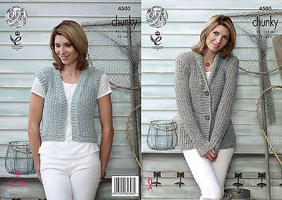 KING COLE 4505 CHUNkY KNITTING PATTERN SIZE 32-44 NOT the  FINISHED GARMENTS