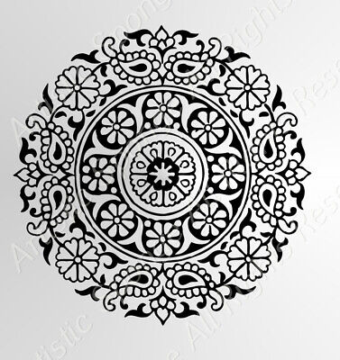 ROUND MANDALA MEDALLION Reusable Stencil A3 A4 A5 Modern Wall Furniture DIY Art