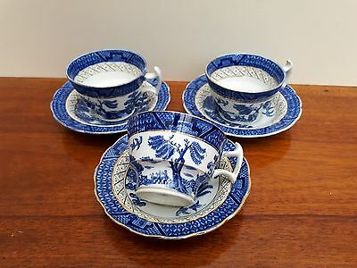 Booths Real Old Willow A8025 x3 Small Tea Cups & Saucers