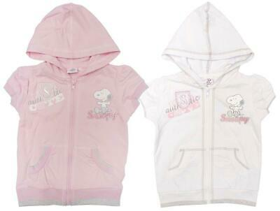 Girls Hooded Jacket Snoopy Cute Gem Short Sleeve Zipper Top 3 to 6 Years