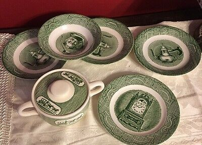 6 Vintage Colonial Homestead by Royal Mismatched Set Butter/sugar Bowl 4 Plates