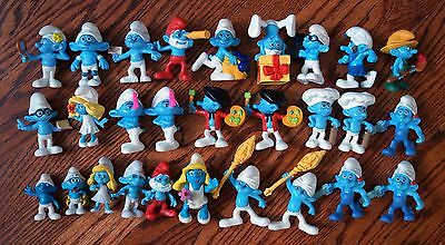 Huge Lot of 29 Modern Peyo Smurf Toy Doll Figures 1998-2011 (most are McDonalds)