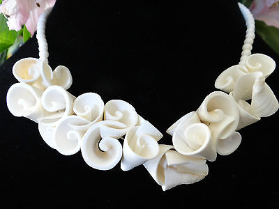 Vintage Conch Shell Necklace Cylinder Swirls Design Beautiful