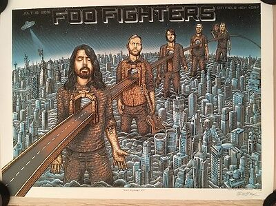 Foo Fighters Citi Field 2015 Poster Nyc Emek Signed Ltd #358/400 Sonic Highways