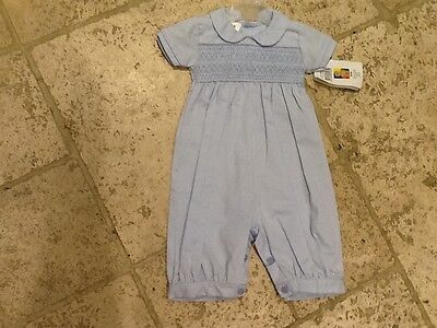 Boys /girls Pex Spanish Smocked Cotton Blue Romper 3 Months BNWT