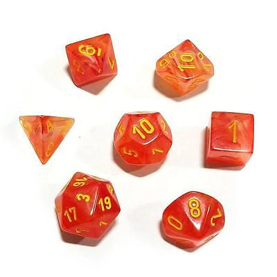 Chessex Dice Set 7pcs Ghostly Glow Orange Yellow Gaming Accessories Glow in Dark