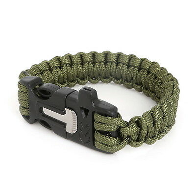 Green Paracord Survival Wristband Bracelet Scaper Whistle Flint Outdoor Camping
