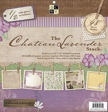 "DCWV Designer 12""x12"" Paper Stack with Glitter - The Chateau Lavender Stack - 48"