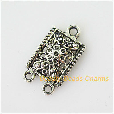 10 New Rectangle Flower Connector Tibetan Silver Tone Charms Pendant 12.5x23.5mm