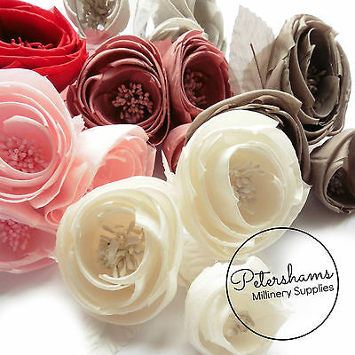 Silk 'Michelle' Ranunculus Style Millinery Fascinator Flower Hat Mount 6 Colours