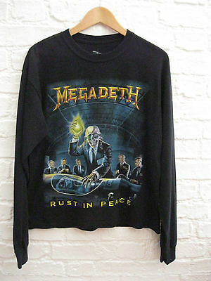 Women's MEGADEATH 'Rust In Peace' Replica Long Sleeve Metal Band Shirt. Size S M