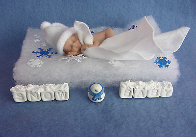 """3"""" In Miniature Polymer Clay  Ooak I Snow Baby  Doll  With Extras"""
