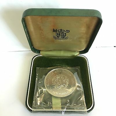 Cased Elizabeth And Philip 1947 - 1972 Silver Proof Crown Coin