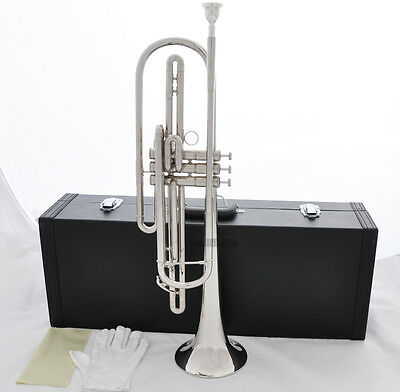 5%OFF Professional Bass Trumpet Silver Nickel Plated 3 Piston Bb Horn New Case