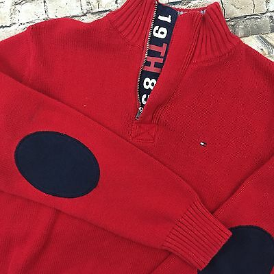 Tommy Hilfiger Boy's Sz M 12/14 Knit Sweater 1/2 Zip Elbow Patch Red EUC