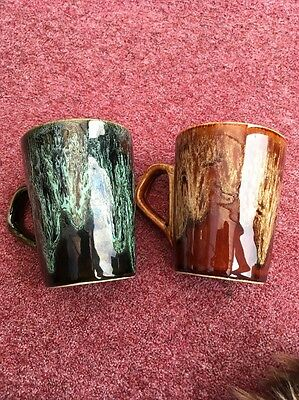Fosters Pottery Cornwall Green & Brown Small Mugs