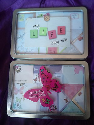 Post its / Sticky Notes Gift Sets x2 in metal tin, cost £8 each, damage to tins