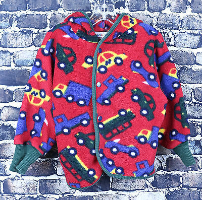PLEASE MUM Red Cars Pattern Long Sleeve Hooded Sweater Size 18 M Snap Button Up