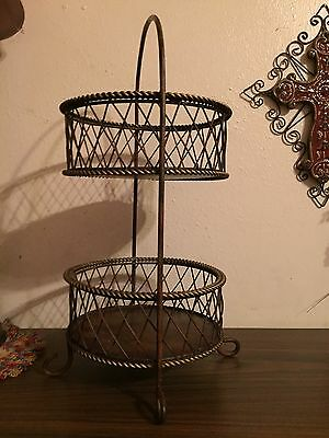 Vintage Home Interiors 2 Tier Metal Basket Stand