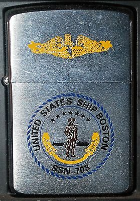 Zippo Us Submarine Uss Boston Ssn 703 - New Regul 1985 In Box