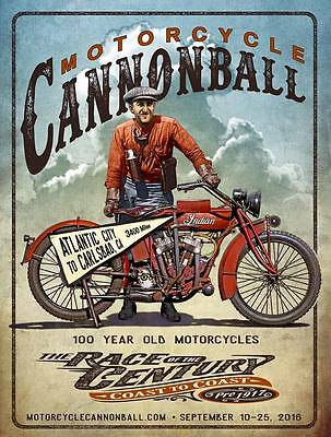 2016 Motorcycle Cannonball Vintage Antique Cannonball Baker Poster