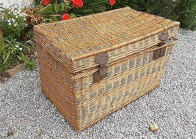 basket, side table, vintage French travelling basket, vintage clothes hamper