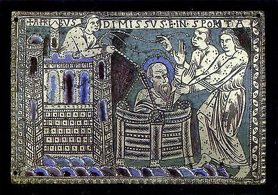 St. Paul let down in a basket from the wall of Damascus:Enamel Plaque:V&A Museum