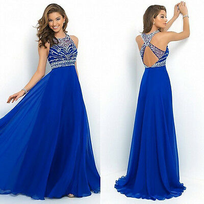 Women's Long Dress Chiffon Evening Party Formal Bridesmaid Prom Ball Gown Dress